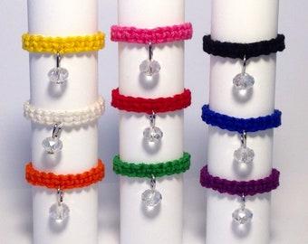crystal hemp ring, macrame ring, stackable ring, unisex ring, loop ring, gift ring, boho ring, braided ring