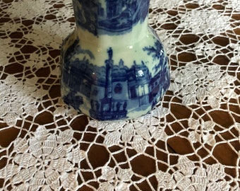 Victoria ware flow blue Ironstone Water Pitcher Old Town Scene 5 1/2 inches tall