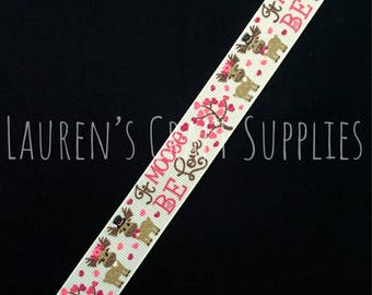 "It Moose Be Love | Valentine's Day Ribbon | Valentine Bow | Hair Bow Ribbon | US Designer Ribbon | 7/8"" Ribbon | Grosgrain Ribbon | Moose"