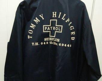 Rare Vintage TOMMY HILFIGER PATROL Surplus Big Logo Spell Out Jacket Size L Large