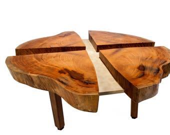 Four Leaf Mahogany Coffee Table - Live Edge