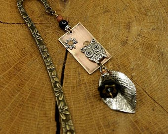Brand Page, book jewelry, owl, leaf, riveted copper Medallion