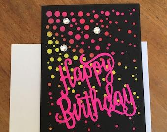 Sunburst Pink Happy Birthday Card