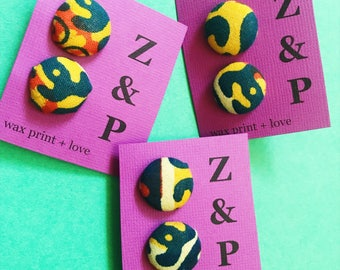 African Print Earrings // Yellow and Blue Wax Print Earrings // Stud Earrings // Button Earrings