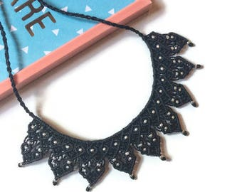 Black necklace • necklace macrame necklace ethnic necklace Chic necklace Boho necklace Hippie • • • • • gift for wife • Valentine's day
