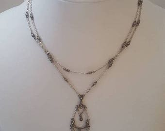 ON SALE Vintage Sterling Silver and Marcasite Necklace