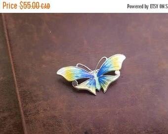 ON SALE Vintage Sterling Silver and Enamel Butterfly Brooch