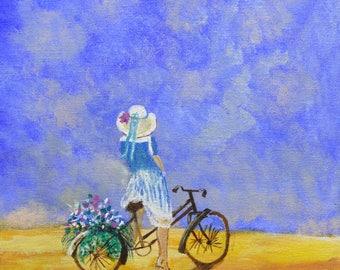 Bike Art - acrylic painting - clearance