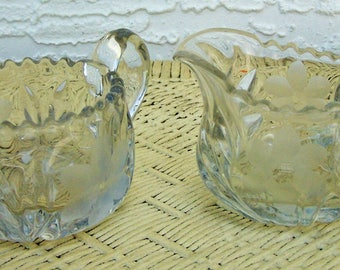 Glass Cream & Sugar, Etched Wheel Design