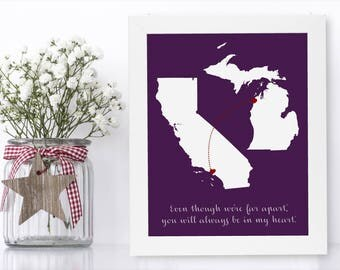 Long Distance Aunt Unique Long Distance Gift 2 Map Art Two Map Print Personalized State Country Distance Present Birthday Gifts Christmas