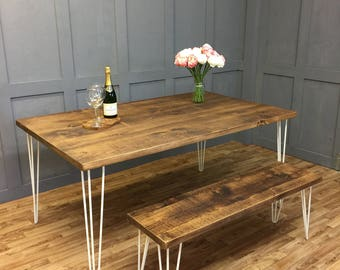Vintage Hairpin Leg Kitchen Table Rustic Reclaimed Industrial Hairpin Legs Dining Table