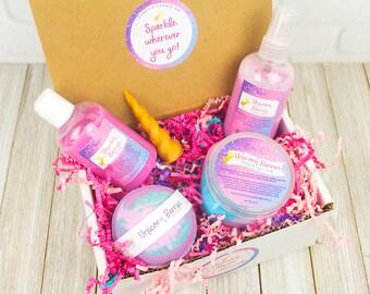 Unicorn spa box, unicorn gift box, unicorn bath bomb, unicorn sugar scrub, Unicorn bath set, Unicorn soap, unicorn body lotion