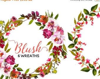 45% off 2 days Watercolor Floral Wreaths Peach Blush Flowers Clipart Digital Flowers Pink Peach Peonies PNG Wreaths Clip art Set DIY Wedding