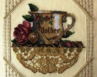 """Finished Cross Stitch Picture """"Mother's cup"""". Completed Cross Stitch. Hand Embroidery. Home Decor. Wall decor. For Mom"""