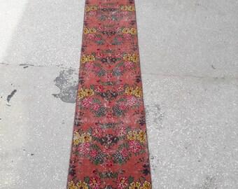 """1'6"""" x 10' Feet Vintage Oushak Runner Rug Hallway Rug Oushak Rug Runner Area Rug Vintage Turkish Rug Narrow Long Runner Rug Free Shipping !"""