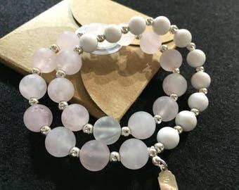 Bracelet rose quartz and jade