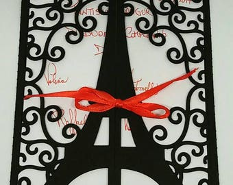Wedding greeting card/invitation tour Eiffel Paris theme/participation/birthday card