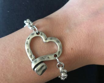 Heart bracelet with silver bathroom NEW