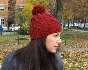 knit hat winter knit hat hand knit beanie winter red beanie pom pom hat