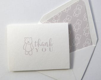Children's Thank You Cards - Grey Bear Thank You Card - Grey Bear Stationery