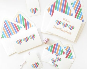 Stationery Set - Notecard Gift Set - Rodan and Fields Cards Striped Hearts - Notecards and Tags