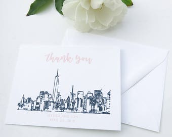 New York City Skyline Thank You Notes - NYC Skyline Thank You Cards - NYC Invitation Suite Thank You Notes - Navy and Blush 1