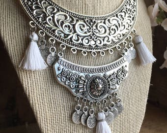 Silver Boho Statement Necklace - Statement Necklace - Boho Necklace - Silver Necklace - Boho Jewelry - Bohemian Necklace - Tribal Necklace