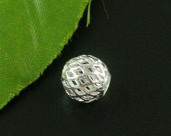 """Set of 2 bead """"Fence AJOURE"""" Metal Silver 10 mm pr Charms"""