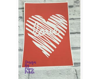 Love paper cut, love heart, love, wall art, romance, gift idea, gift for her, couples, valentines gift, romantic, love heart