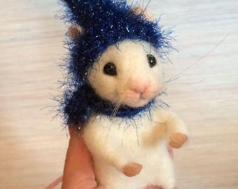 Needle felted mouse light blue bulb christmas hat scarf