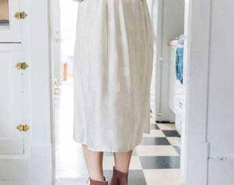 vintage white silk midi skirt