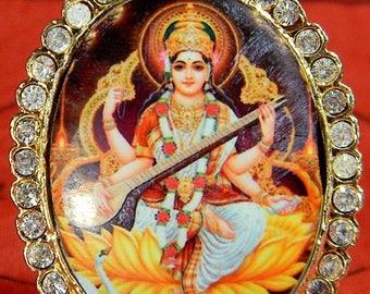 Goddess Saraswati OM AMULET PENDANT Broach Goddess of Music Success Hindu Jewelry, Buddhist Amulet, Lucky Sacred Hindu Jewelry #645