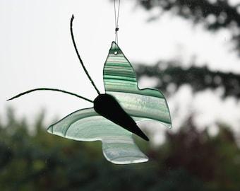 Green Fused Glass Butterfly Suncatcher