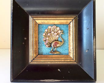 Peacock framed art, peacock assemblage, peacock jewelry art, teal peacock, black gold framed art, turquoise peacock, peacock theme wedding,