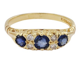 1950s Antique Style 18K Yellow Gold Sapphire and Diamond Ring, Sapphire Ring, Vintage Ring, Yellow Gold Ring, September Birthstone
