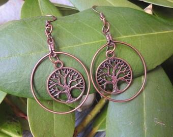 Copper Tree of Life Hoop Earrings - Tree of Life Earrings - Copper Hoop Earrings - Bohemian Jewelry - Gypsy Jewelry - Hippie Earrings