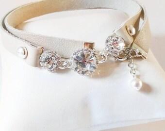 Leather wrap crystal bracelet, wrap bracelet, studded bracelet, genuine leather