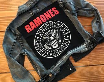 Women's Ramones Denim Jacket (S) | custom made | ramones back patch | one of a kind | womens denim jacket | jean jacket