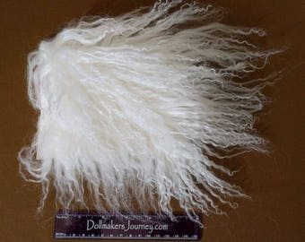 """Tibetan Lamb - Bleached White - 6"""" by 5.5"""" Piece - Beautiful For Doll Hair/Wig on BJD, Art Dolls and All Dolls."""