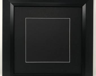 "16x16 2"" 2"" Black Beveled Contemporary Solid Wood Picture Frame with Black Mat Cut for 12x12 Picture"