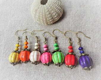 Bronze support stone pumpkin earrings