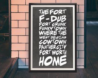 Fort Worth Home Print - Nicknames of Fort Worth, Black and White, Texas art, Fort Worth Art, Tcu art, horned frog art, FWTX artist