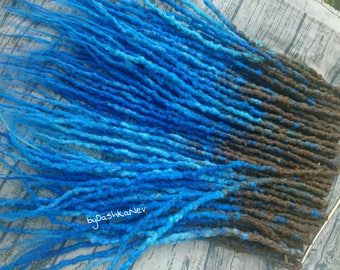 Ready made set of synthetic double ended dreads, crochet dreads, natural looking synthetic dreads, blue dreads, fantasy dreads