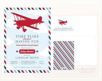 TIME FLIES When You're Having Fun Airplane BABY Shower Invitation