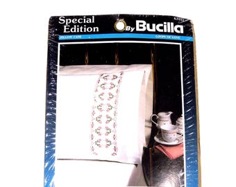 VINTAGE: 1990's - Bucilla Special Edition Pillow Case Kit - Needlepoint Pillow Kit - Loops of love Pattern  - # 63112 - SKU 26-A-00008831