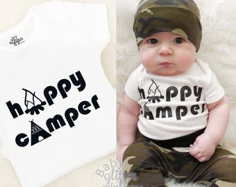 Baby Happy Camper Boy Shirt, Adventurer, Mountains are Calling, Little Camper, TeePee Smores Camping, Baby Camping Shirt, Boy Camping