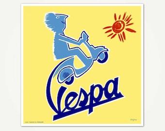 Cartel de arte vintage de scooter