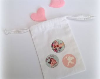 Mini bag fabric Valentine white 15 x 9.5 retro patterns