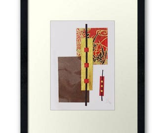 Original ACEO Abstract Paper Collages-JapanInspiration-Shiping Included-Miniature-Modern Art-Collectible Card-Trading Card - Geometric ATC