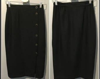 Vintage 1980s Long Black Skirt with Offside Buttons and Front Slit Detail - Size 7/8